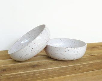 Glossy White, Rustic Speckled Stoneware Pottery Bowls - Set of 2