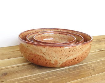 Stoneware Ceramic Nesting Pottery Bowl Set in Shino Glaze, Rustic - Set of Three