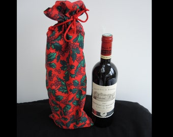 SALE 25% off Christmas retro bottle bag -Holly print lined festive cotton long drawstring pouch, large- ready to ship