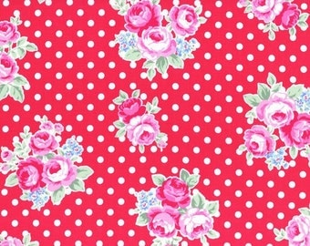 Red Rose Blossoms 31375 33 Fabric by Lecien Flower Sugar Sweet Carnival