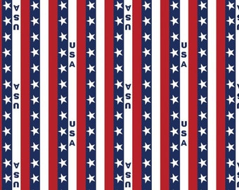 Patriotic Stars and Stripes - Patriotic Fabric- Cotton Fabric- Springs Creative- USA- Valor- 4th of July- By the yard- By the half yard
