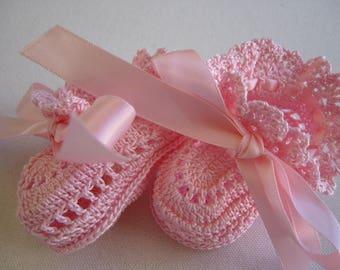 Pink Baby Girl Booties, Crochet Baby Booties,  Pink Ribbons Newborn Baby Girl or Reborn Doll