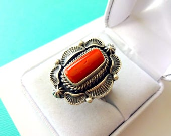 Navajo Red Coral and Sterling Silver Ring Size 6.5