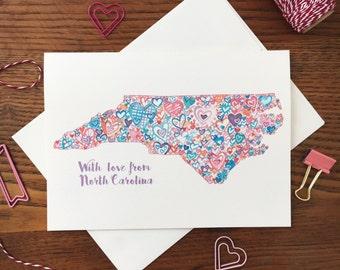 North Carolina Card. Love Card. Anniversary Card. Card for Friend. Same Sex Card. NC Themed Card. Blank Card. Heart card. NC state shape