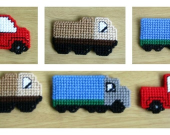 Trio of Trucks Playtime Magnets - Refrigerator or Magnetic Board Magnets - Pickup Truck - Dump Truck -Tractor Trailer Truck. Novelty Magnets