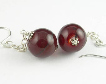 Sterling Silver Lampwork Glass Long Dangle Statement French Hook Earrings in Ruby Red