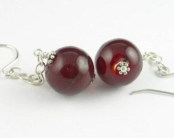 Sterling Silver Lampwork Glass Long Dangle Statement French Hook Earrings in Ruby Red