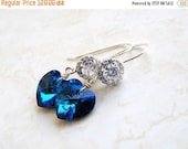 Love You Sale Royal Blue Sea Green Earrings Swarovski Crystal CZ Halo Silver Dangle