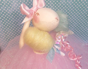 Easter bunny easter doll shabby vintage retro inspired art doll pastel pink mint yellow anthropomorphic lop ear bunny doll cotton candy doll