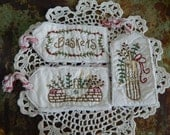 Hand Stitched Spring Hangtags - Baskets - Flowers