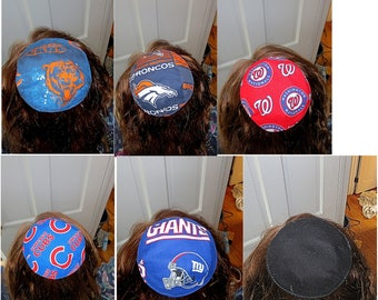 Reversible saucer kippah select your pattern for both sides NFL, MLB, Hockey, NCCA teams sports and more --great gift for him