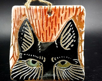 red fox face - art tile for your wall