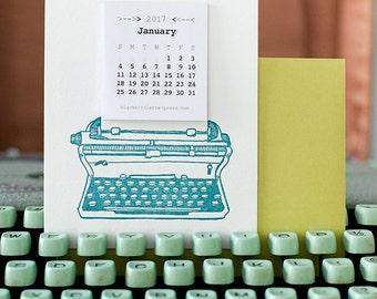 letterpress mini typewriter calendar 2017