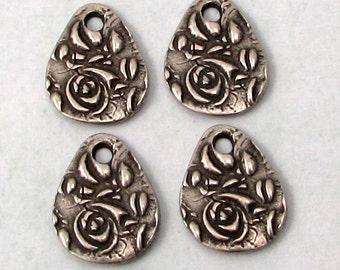 Flora Small Teardrop Charm, Antique Pewter, TierraCast, 4 Pieces TPA17