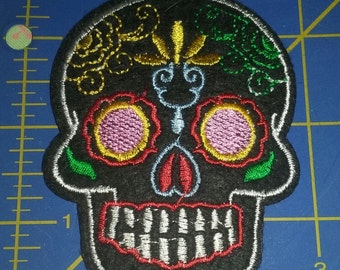 Day of the Dead Sugar Skull embroidered patch - Pin up, retro, rockabilly applique