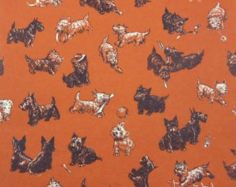 Vintage 1950s Birthday Wrapping Paper or Gift Wrap with Scotty Scottie Dogs and Westies by American Greetings