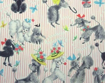 Vintage 1950s or 1960s Pink Striped Juvenile Birthday All Occasion General Paper Gift Wrap with Adorable Poodles Dogs by Hallmark