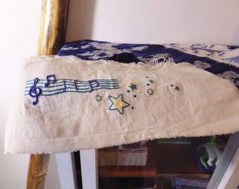 Large Music Patch Embroidered Star Patch Musical Stars Embroidered Panel Hand Embroidered Sewing Ephemera Blue & Yellow Embroidery