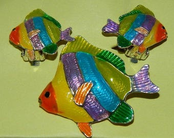Rainbow Fish Pendant & Clip On Earrings, Tropical, Nautical, Just in time for Summer, Angel Fish, Nautical Jewels