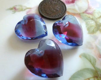 1 Vintage Sapphire/Rose Givre, Two Tone, 2 Color Glass Heart Pendants, Heart Drop, Top Drilled, Flat Surface, 18x17mm, 1 piece