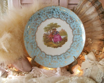 shabby french cottage, wall décor, vintage decorative plate, egg blue, gold filigree lace pattern, fragonard courting couple, tea party