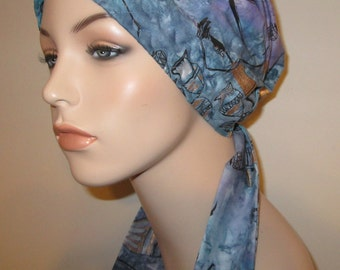 Blue Ethnic African American Print PreTied Chemo Hat, Cancer Scarf, Modest Hat Alopecia