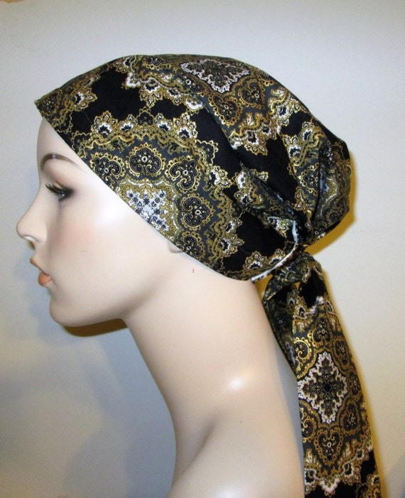 Black and Gold Medallions  Chemo Hat, Cancer Scarf, Surgical Scrub Hat, Turban, Hair Loss Free Ship USA