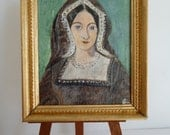 Tudor style acrylic painting of Catherine Of Aragon 1st wife of Henry VIII. Miniature one 12th scale portrait.