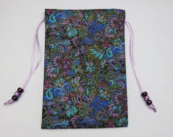 """Silk Lined Tarot Card Pouch, Tarot Card Bag, Handmade 4.75"""" x 7 1/4"""" tall, 4.75 x 7.25"""