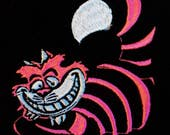 Cheshire Cat - Alice in Wonderland - Psychedelic Hot Neon Pink Kitty Cat - Handmade Embroidery Design By Psysub - Iron on Sew on Patch