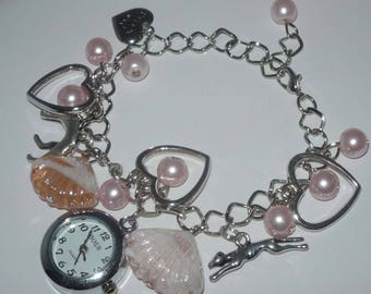 Pink Bead Watch Charm Bracelet with Greyhound or Whippet and Dog Charms