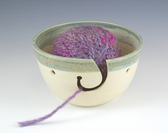 READY TO SHIP! Ceramic Yarn Bowl, Knitting Gift, Crochet Gift, Knit Pottery Crochet Handmade Yarn Holder, Yarn Organizer, Craft Supplies,