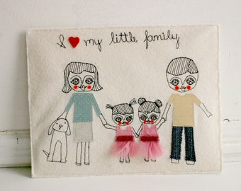 CUSTOM ORDER - Family portrait  -  textile collage art  - letter size