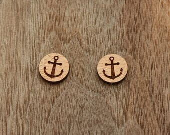 8 pcs Anchor Wood Charm, Carved, Engraved, Earring Supplies, Cabochons (WC 118)