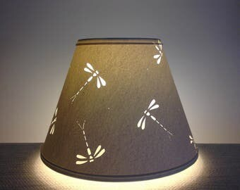 Dragonfly Design Paper Lampshade-Clip on Lamp Shade-Dragonflies-Paper lampshade-Dragonfly-Handmade-Lamp Shade