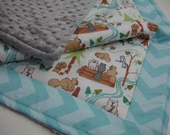 Lazy Beavers Aqua Blanket You Choose Size and Minky Color MADE TO ORDER No Batting