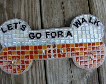Mosaic Leash Holder Key Rack Brown Blue White Words Let's Go For a Walk With Four Hooks Wall Decor