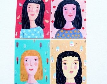 4 postcards, woman, flowers, home decor, wall decor, art, illustration