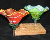 Listing RESERVED for THEONIA for 2 Hand Blown Glass Flowers Garden Art Sculpture Outdoor Decorations