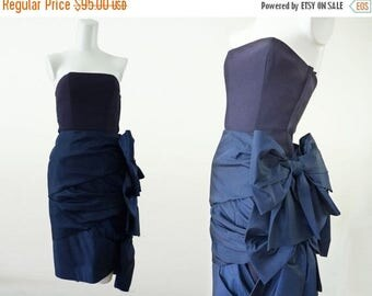 Vintage Formal Dress | Midnight Becomes Blue Hourglass Wiggle Party Cocktail Evening Strapless I Magnin 90s 1990s