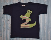 Boys ALLIGATOR  BIrTHdAY NUMBER    applique tee sizes 6-12-18-24 mth 2T -3-4-5-6 *any number available*