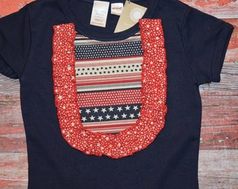 AMERICANA Girls Navy Bib Style Tee  size 4 - 8   July 4 RED WhITe & BLUE  patriotic Ready to Ship!