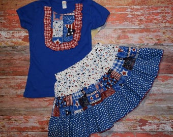 AMERICANA Girls Royal blue  Bib Style Tee with skirt size 6   July 4 RED WhITe & BLUE  patriotic Ready to Ship!