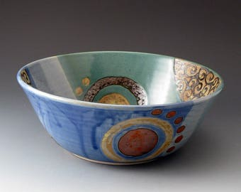 Serving Bowl, Handmade Ceramic Bowl, Blue and Green, Medium Bowls, Fine Art Ceramics