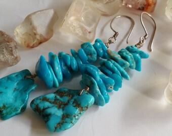 Sleeping Beauty Turquoise Modern Tribal Statement Drop Dangle Earrings
