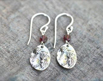 Garnet Gemstone, Sterling Silver Flower Blossom Link Earrings, January Birthstone, Birthstone Jewelry, Garnet, Burgundy Red Gemstone