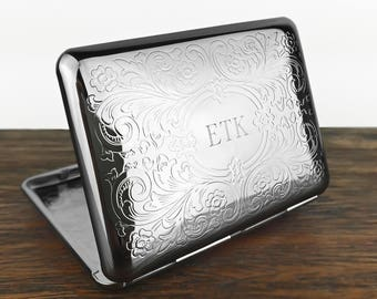 Personalised Cigarette Case With Engraved Initials. Business Card Holder. Scrolly Ornate Pattern.