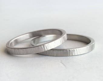 Hammer Texture 2mm White Gold Wedding Band Set | Rustic Tree Bark Texture recycled gold | 14k 18k White Gold Wedding bands| Hers and Hers