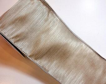 Platinum Ribbon, Offray Taj Wired Fabric Ribbon 4 inches wide x 10 yards, Full Bolt of Platinum Gray Ribbon