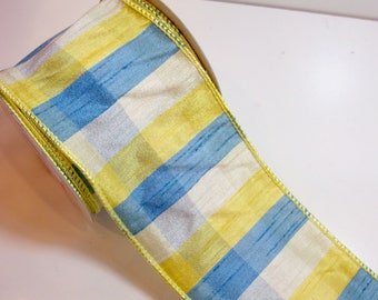 Plaid Ribbon, Offray Phill Wired Fabric Ribbon 4 inches wide x 10 yards, Full Bolt of Yellow and Blue Plaid Ribbon